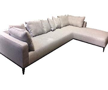 sohoConcept Sectional in Light Grey Fabric & High Density Foam w/ Black Powdered Steel Base