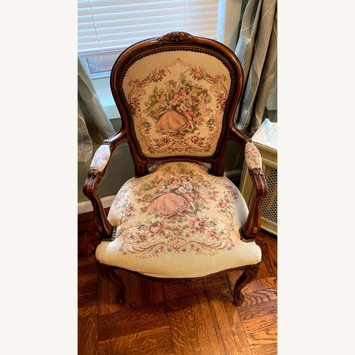 Used Vintage Tapestry Ornate Carved Arm Chairs for sale on AptDeco