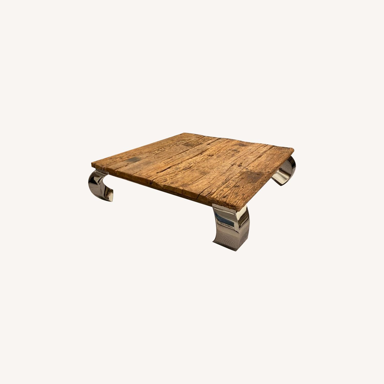 Picture of: Rustic Solid Wood Coffee Table W Chrome Legs Aptdeco