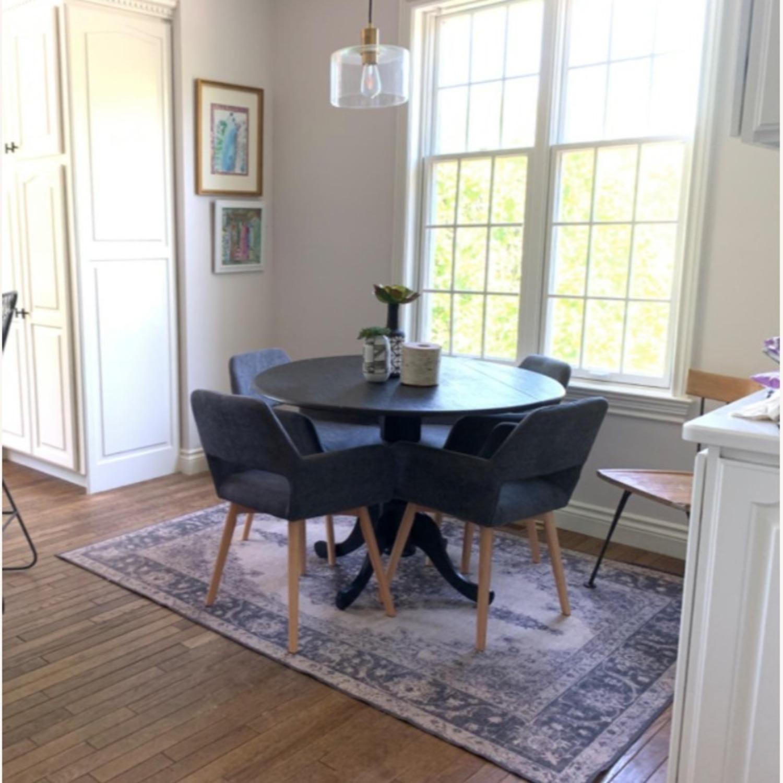 Mid Century Modern Dining Arm Chair In Dark Grey Aptdeco