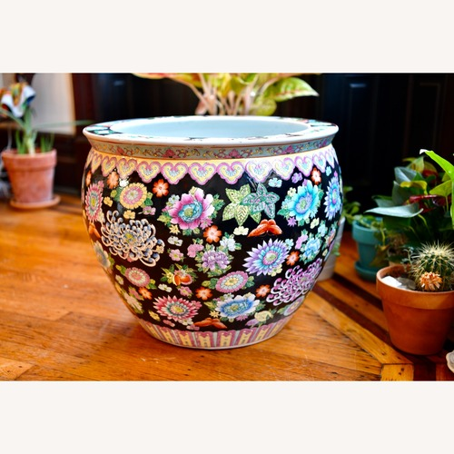 Used Chinese Porcelain Famille Noire Fishbowl for sale on AptDeco