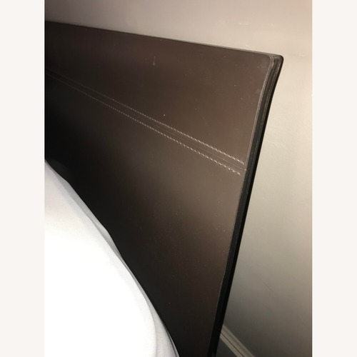 Used Design Within Reach Platform Bed Frame w Leather Headboard for sale on AptDeco