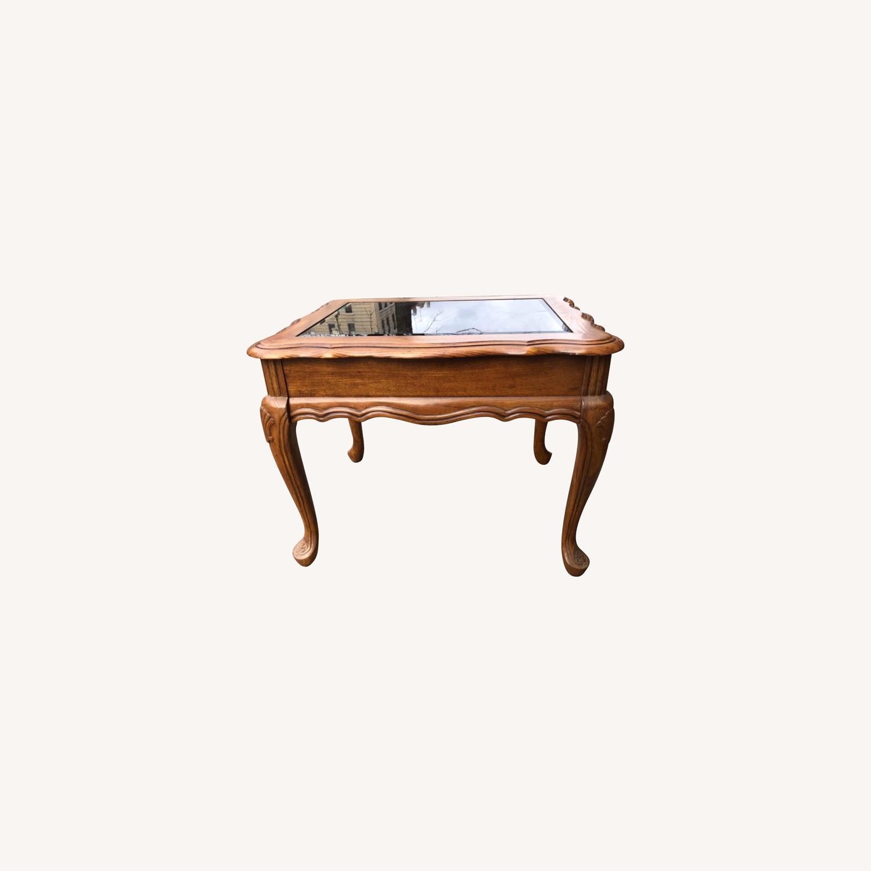 Palliser 1970s Wood & Beverly Glass Side Table - image-0