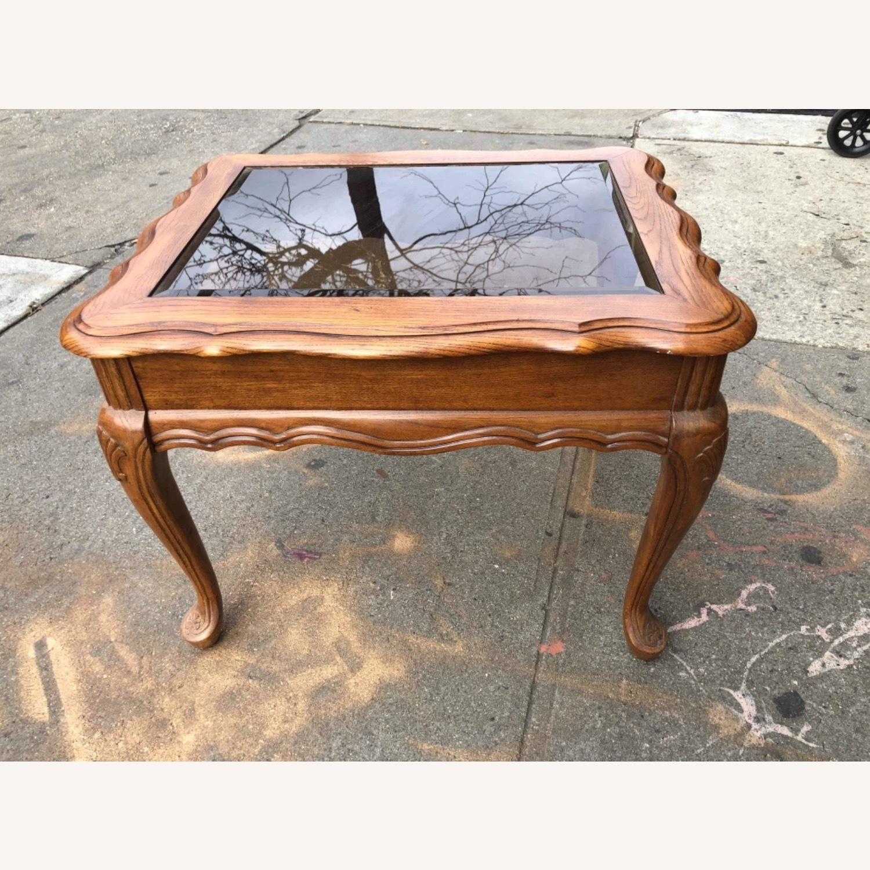 Palliser 1970s Wood & Beverly Glass Side Table - image-3