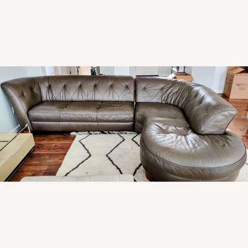 Used Natuzzi Editions Donato Tufted Brown Leather Couch for sale on AptDeco