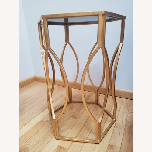 Used One Kings Lane Hexagon Metal Mirrored Top Side Table for sale on AptDeco