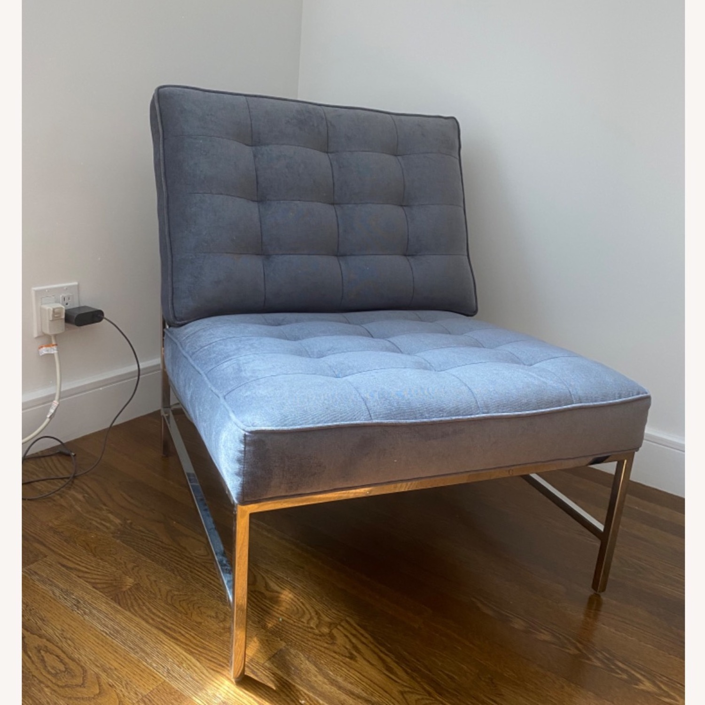 Mitchell Gold&Bob Williams Gray/Blue Velvet Chair - image-1