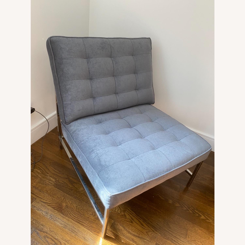 Mitchell Gold&Bob Williams Gray/Blue Velvet Chair - image-2