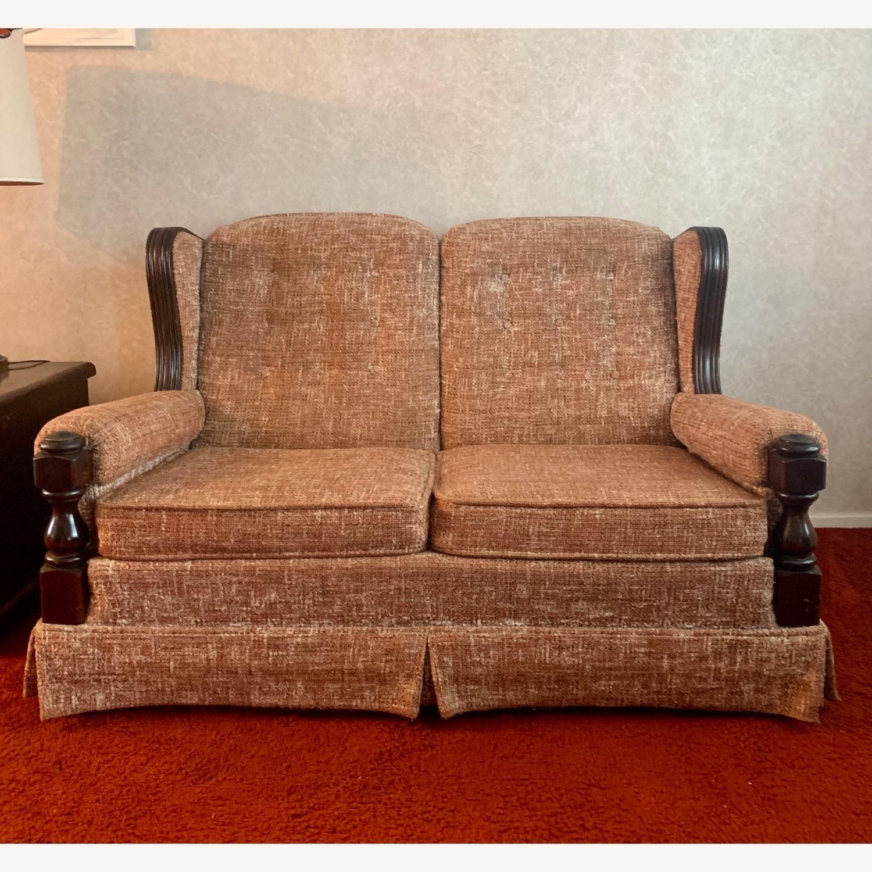 Ethan Allen Vintage Tweed Love Seat - image-1
