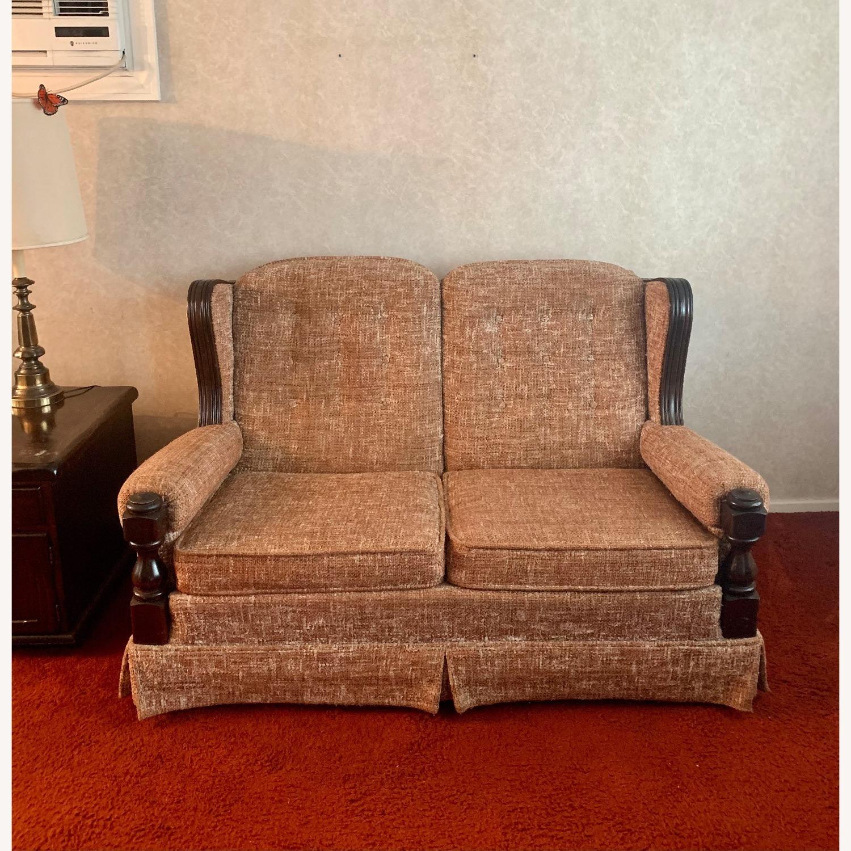 Ethan Allen Vintage Tweed Love Seat - image-2