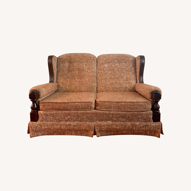 Ethan Allen Vintage Tweed Love Seat - image-0