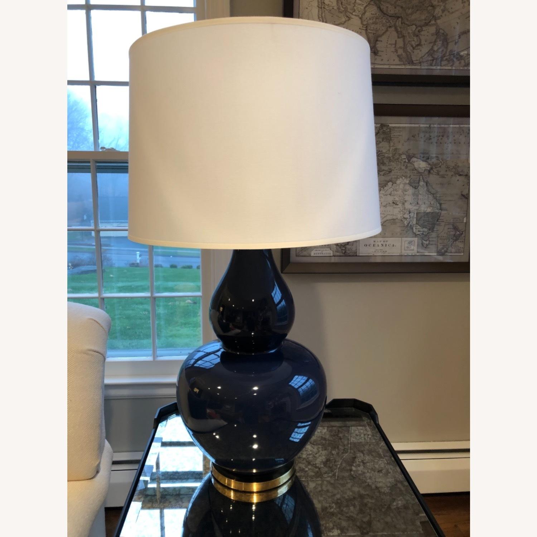 Ethan Allen Navy Blue Ceramic Table Lamp - image-1