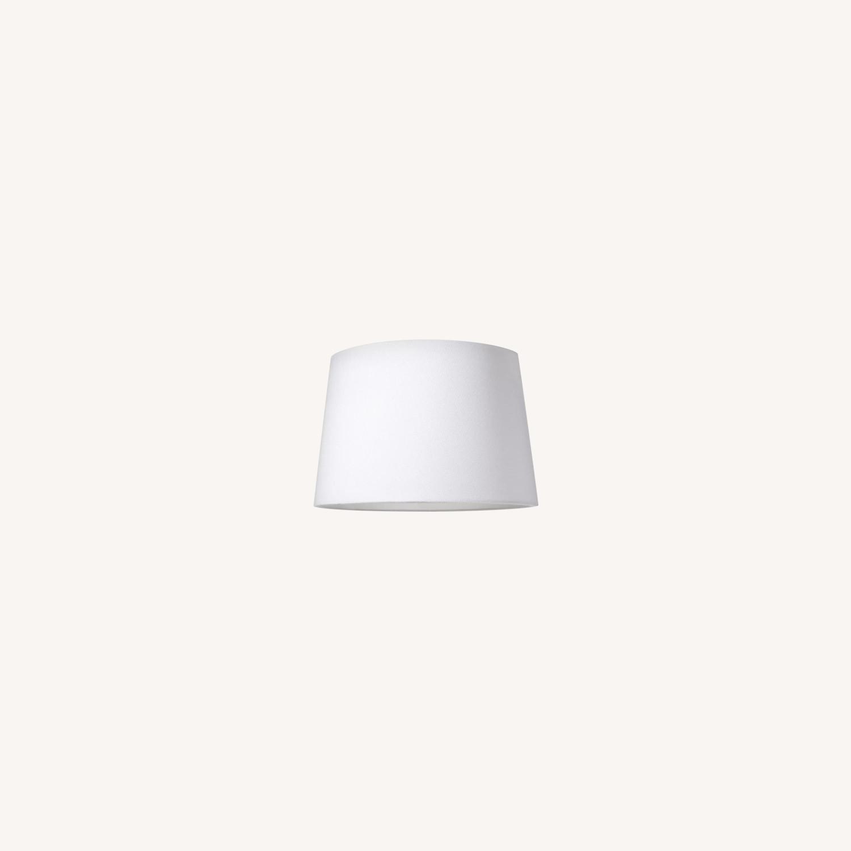 Target Modern White Linen Drum Lamp Shades - image-0