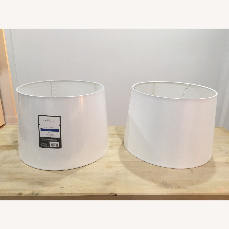 Target Modern White Linen Drum Lamp Shades - image-1