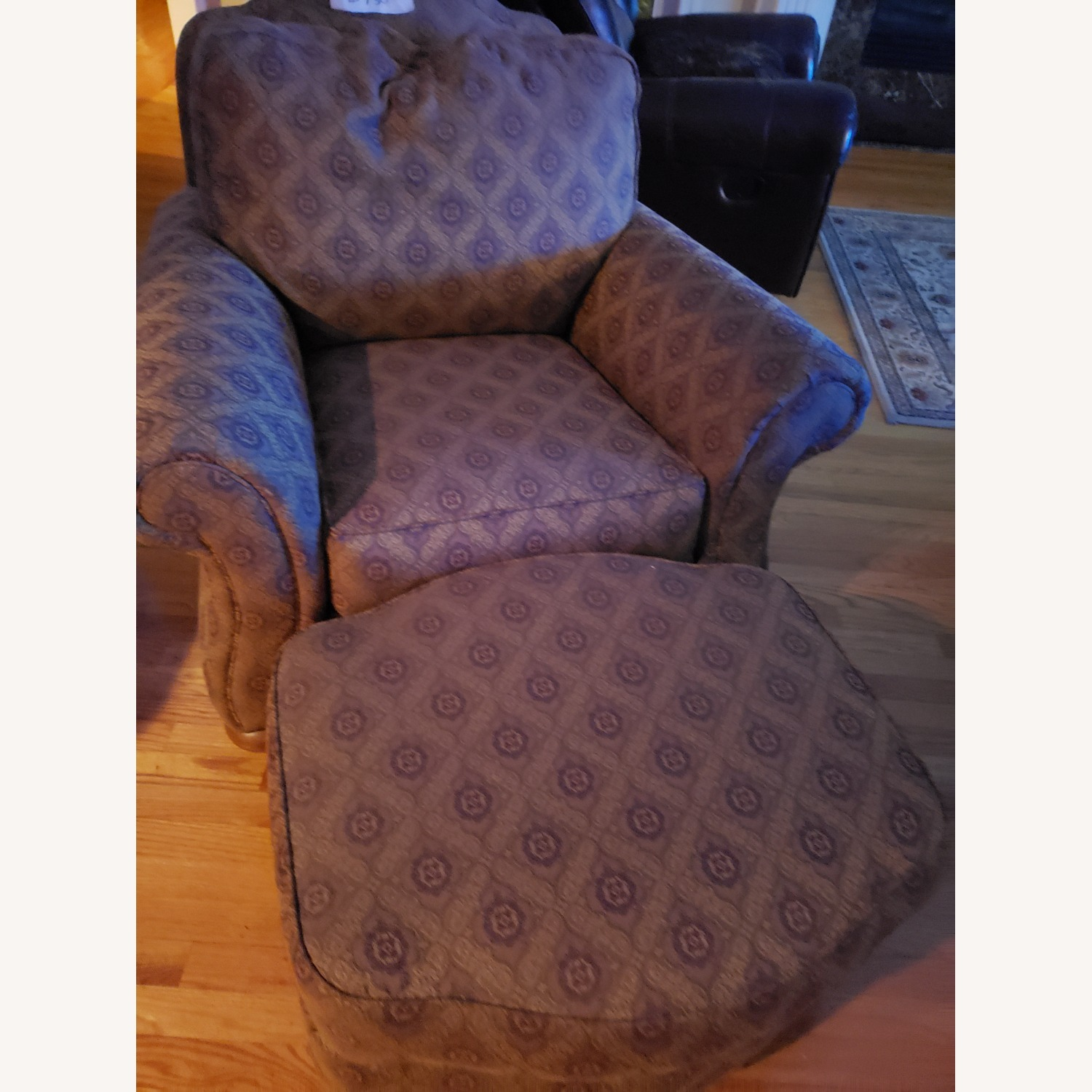 Ethan Allen Chair with Ottoman - image-1