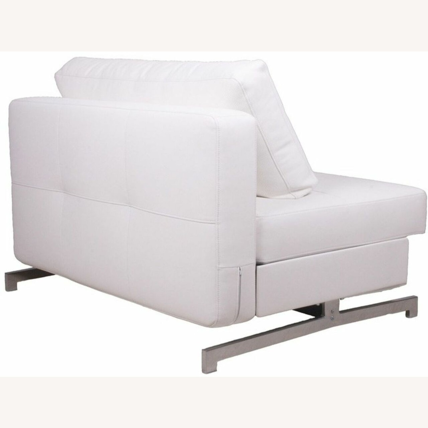 Sofa Bed In White Plush Upholstery W/ Steel Frame - image-1