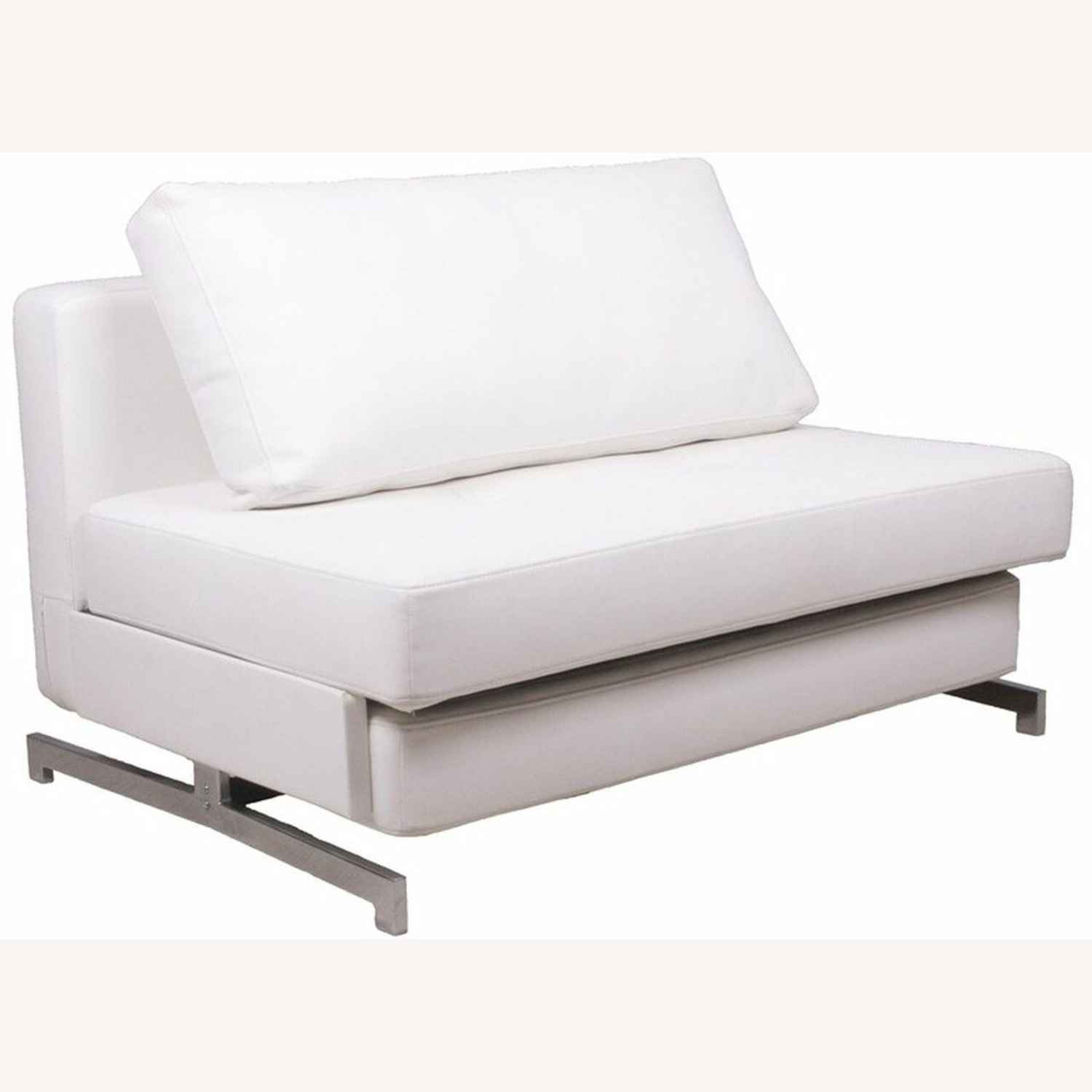 Sofa Bed In White Plush Upholstery W/ Steel Frame - image-0