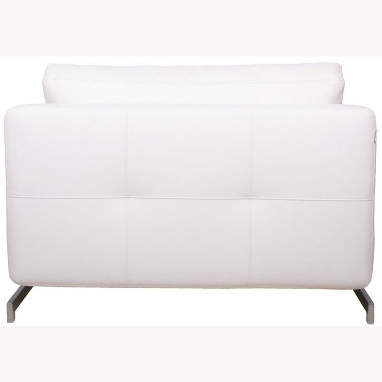 Sofa Bed In White Plush Upholstery W/ Steel Frame - image-2