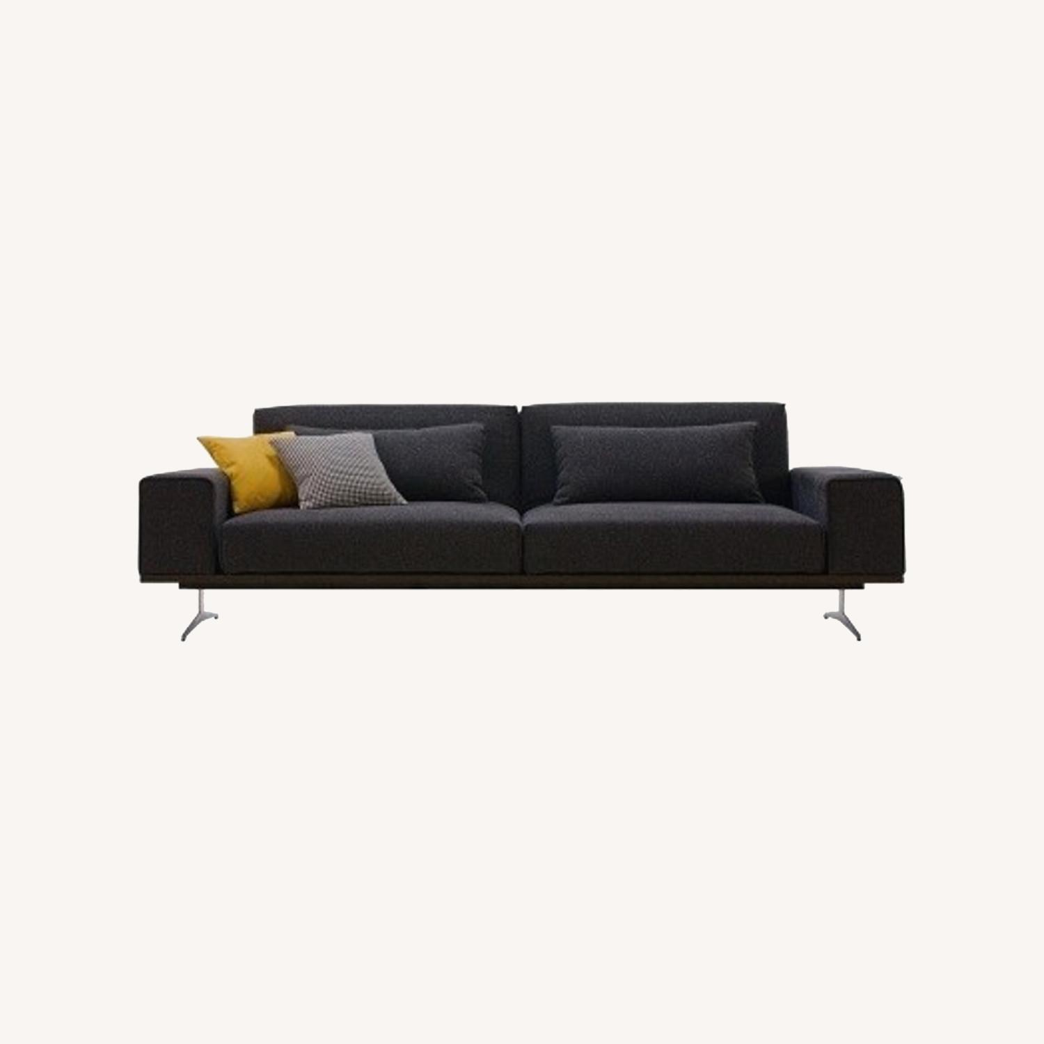 Wide Sofa Bed In Black Fabric Upholstery - image-3