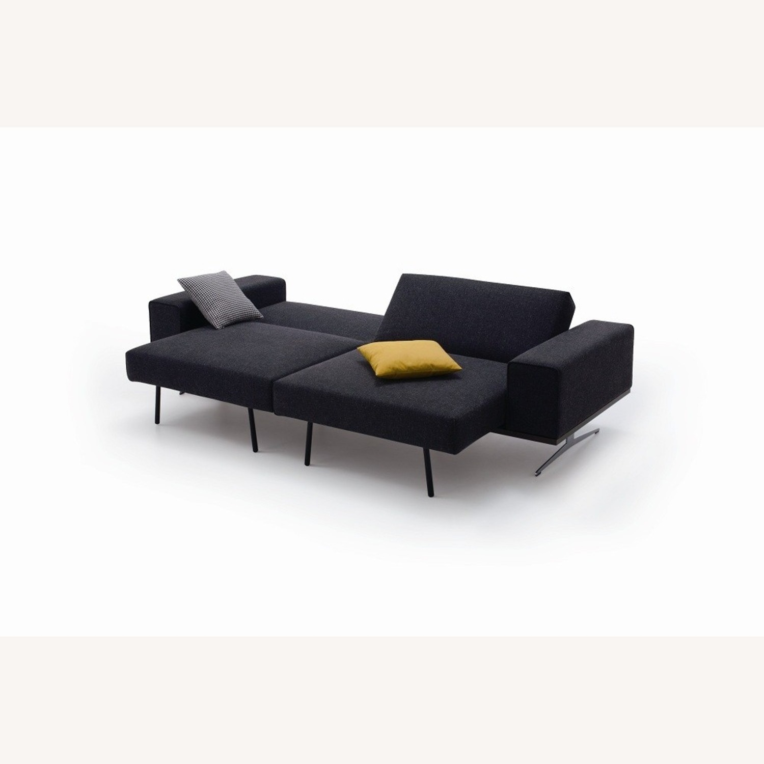 Wide Sofa Bed In Black Fabric Upholstery - image-2