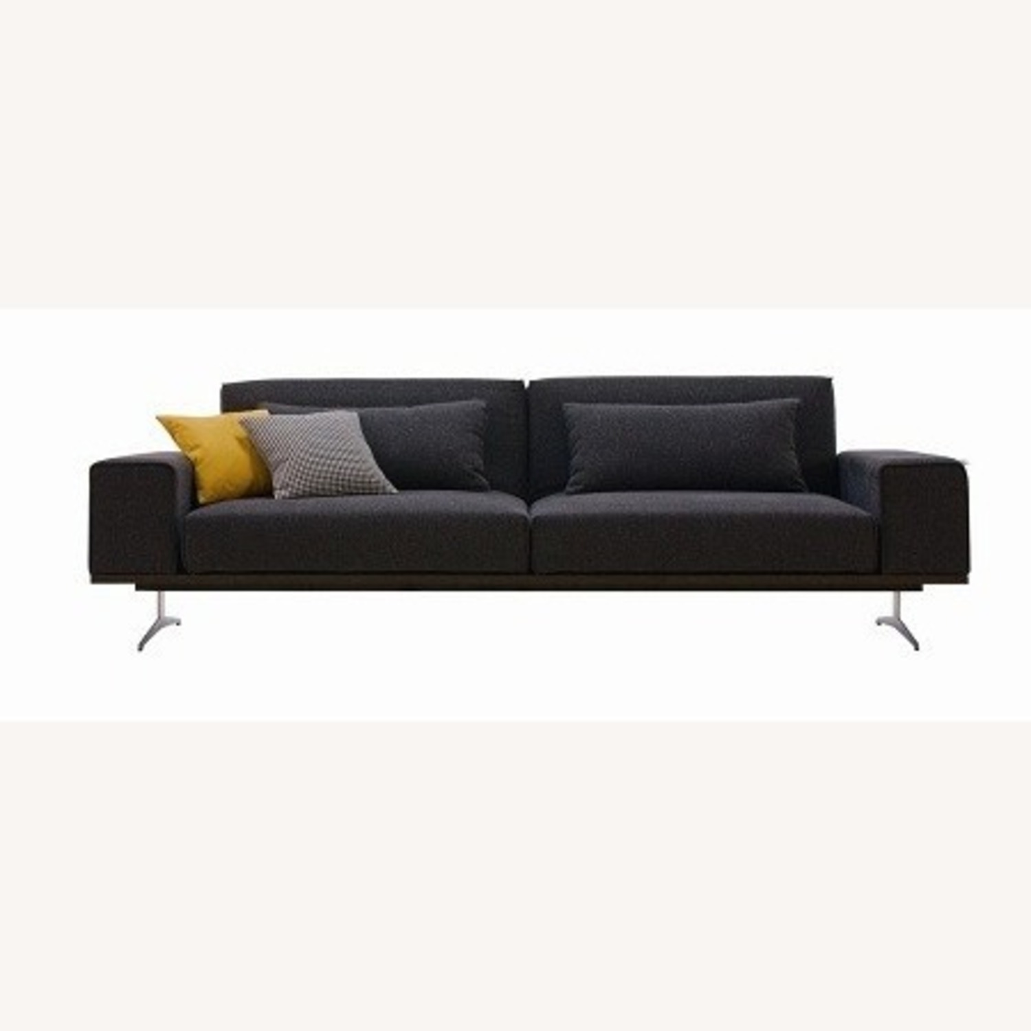 Wide Sofa Bed In Black Fabric Upholstery - image-0