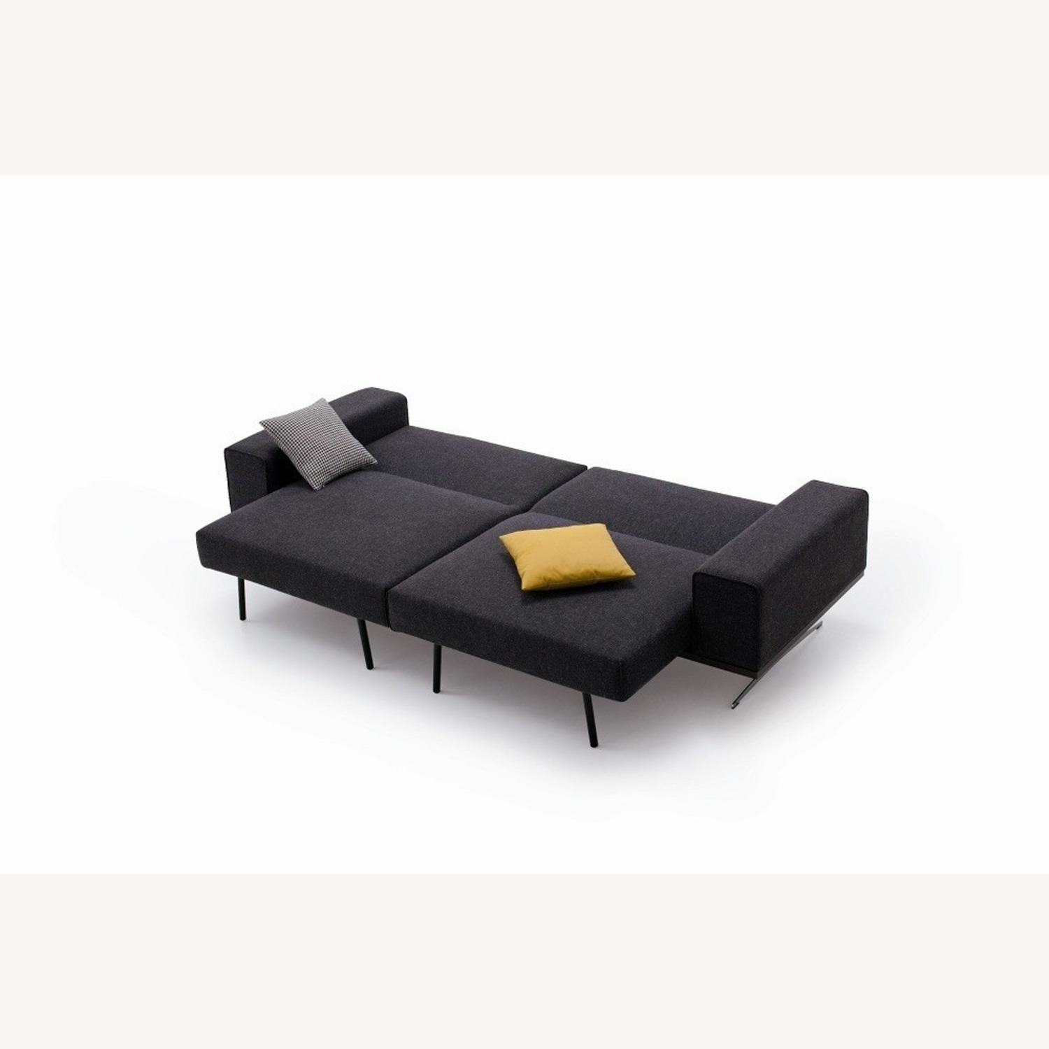 Wide Sofa Bed In Black Fabric Upholstery - image-1