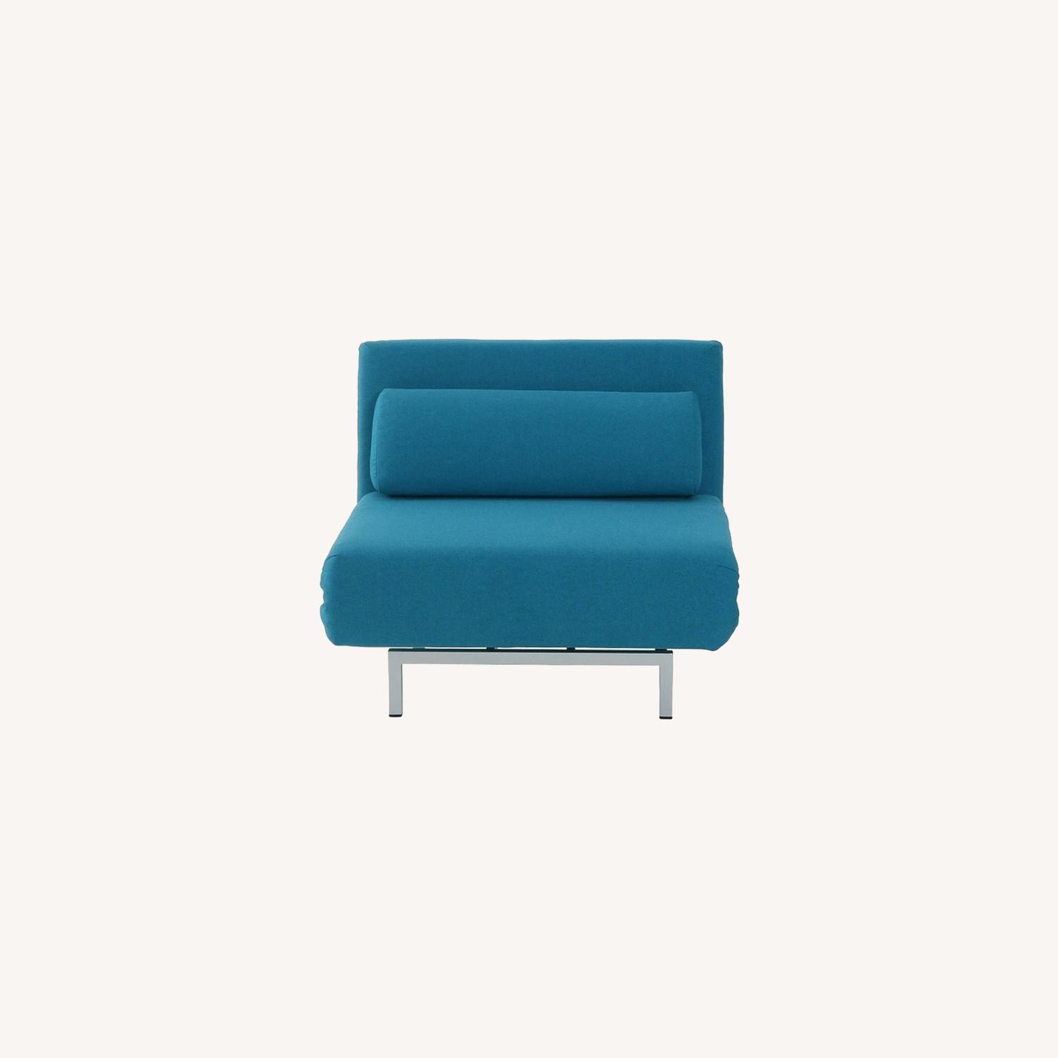 Convertible Sofa Bed In Teal Fabric Upholstery - image-5