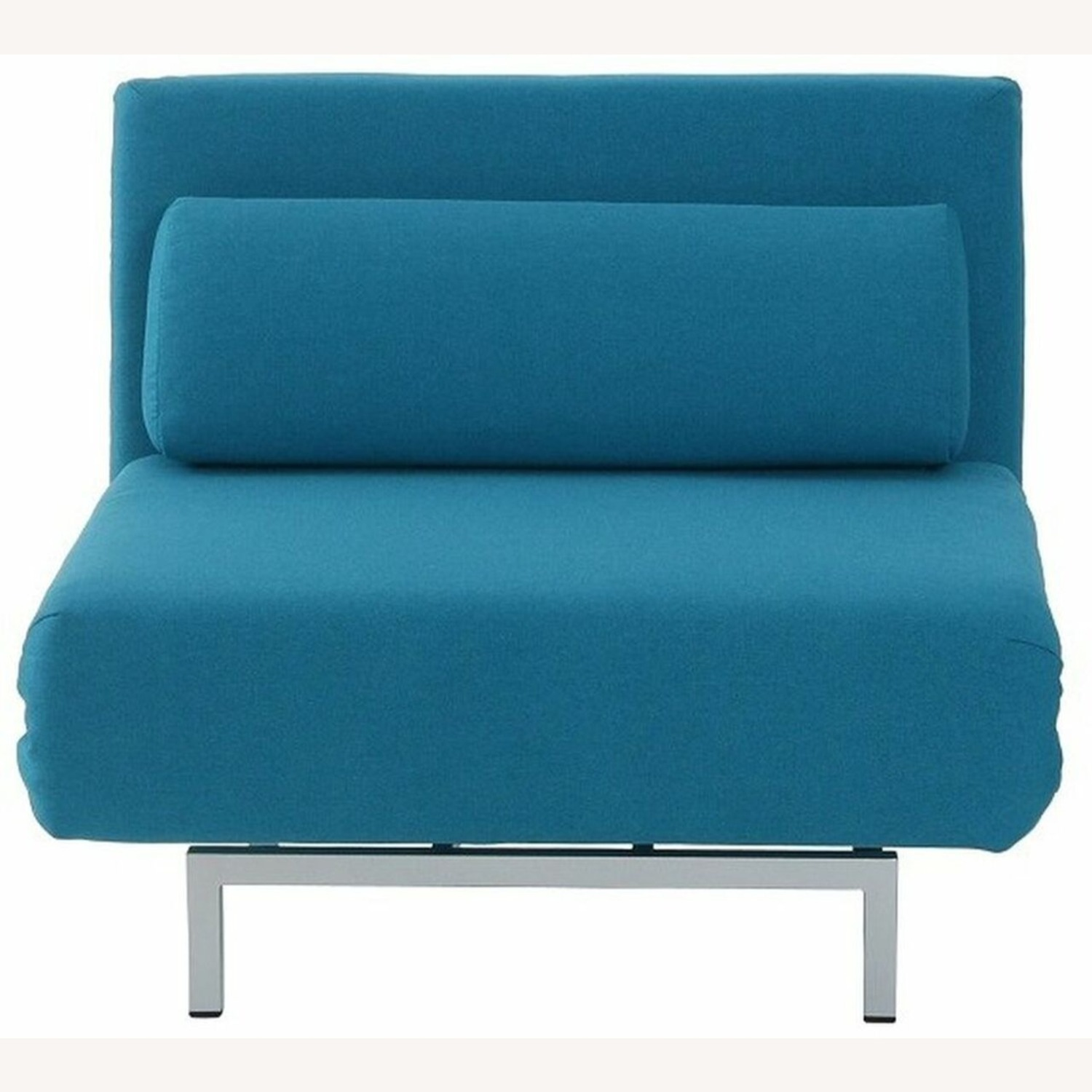 Convertible Sofa Bed In Teal Fabric Upholstery - image-1