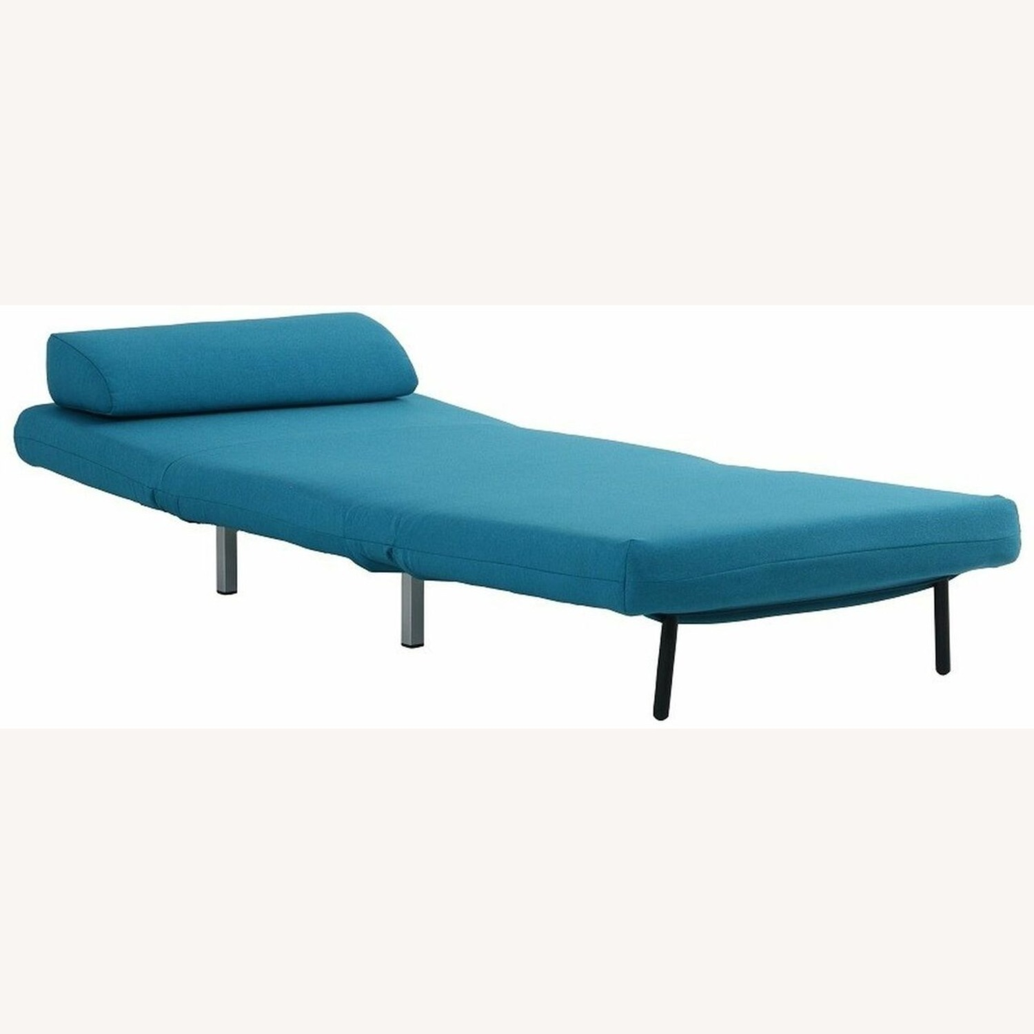 Convertible Sofa Bed In Teal Fabric Upholstery - image-4