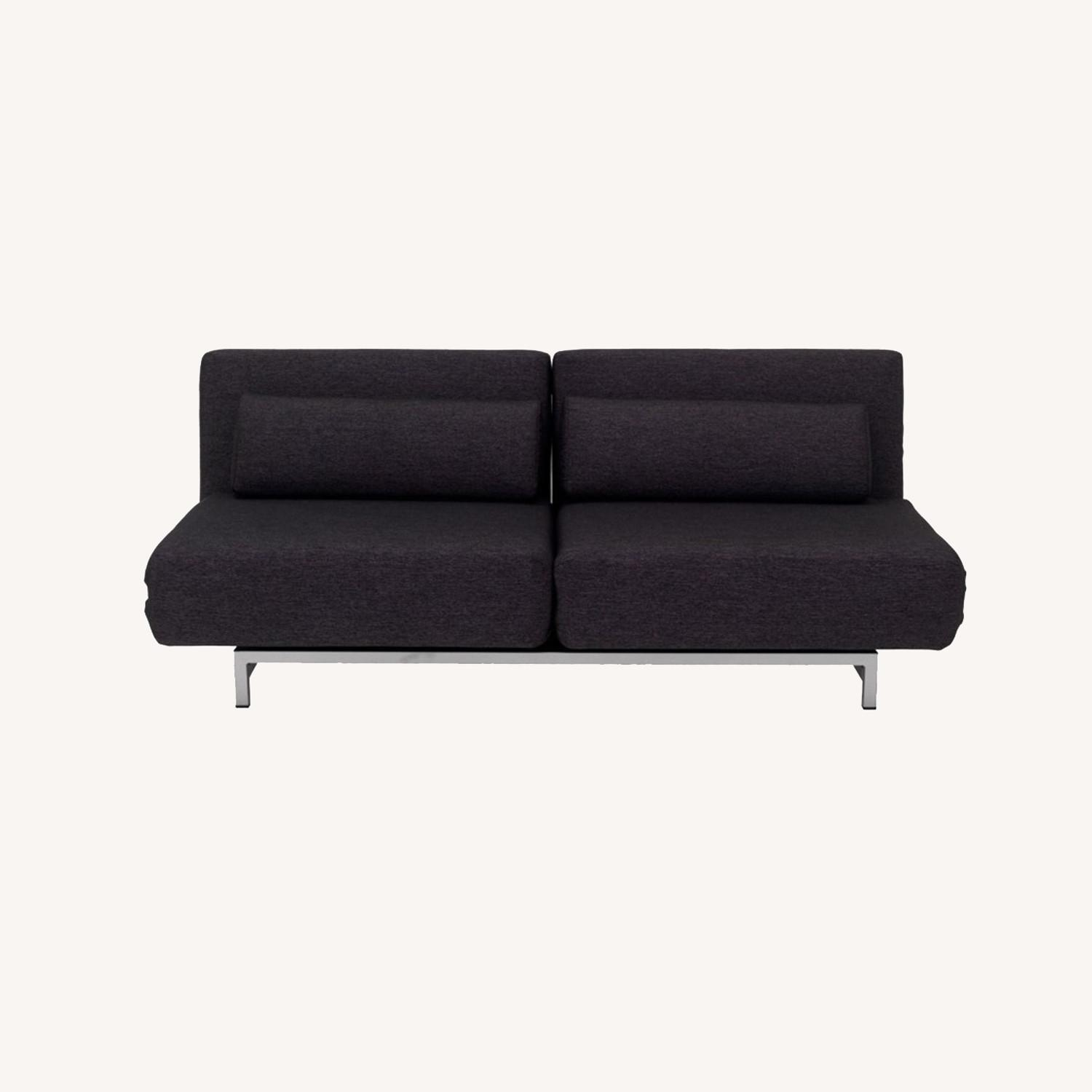 Sofa Bed In Black Fabric W/ Adjustable Back - image-8