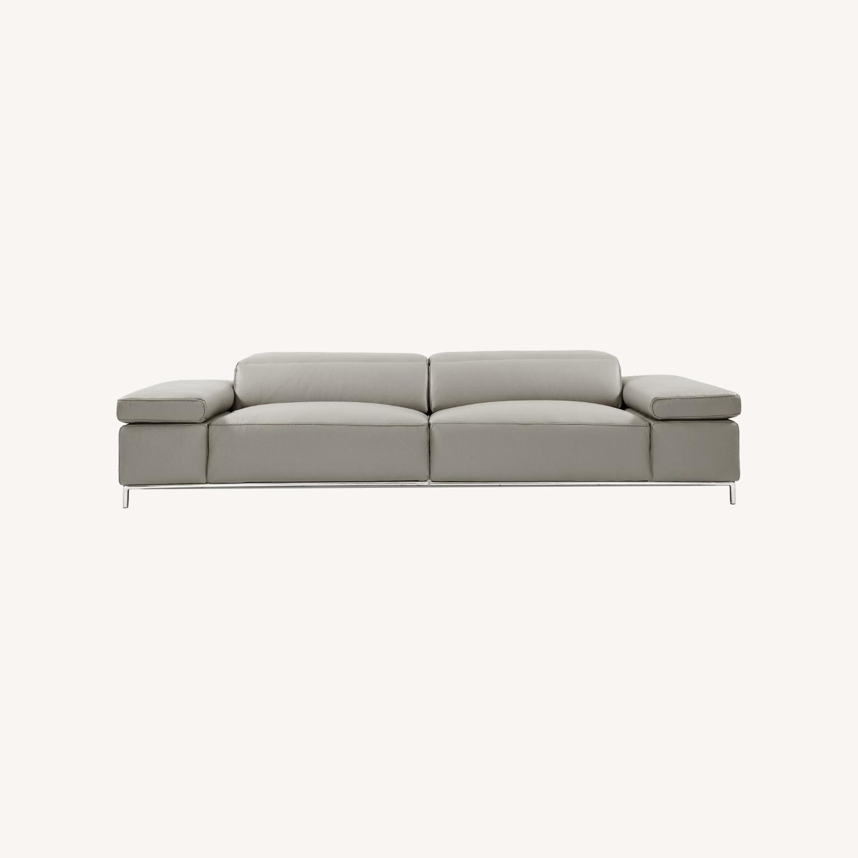 Sofa In Light Grey Leather W/ Adjustable Armrest - image-5