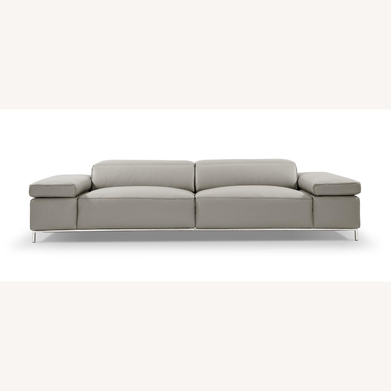 Sofa In Light Grey Leather W/ Adjustable Armrest - image-2