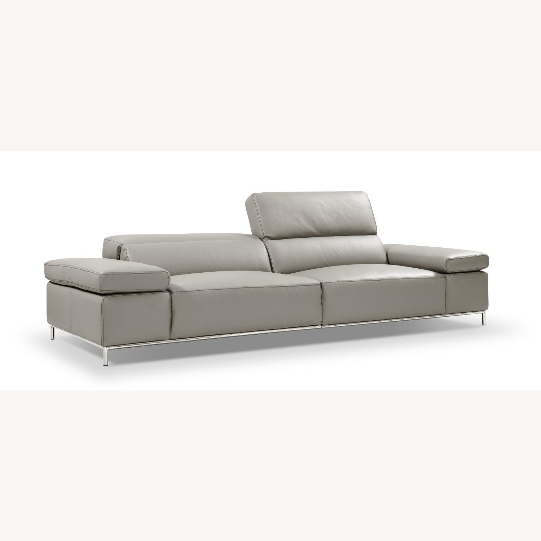 Sofa In Light Grey Leather W/ Adjustable Armrest - image-0