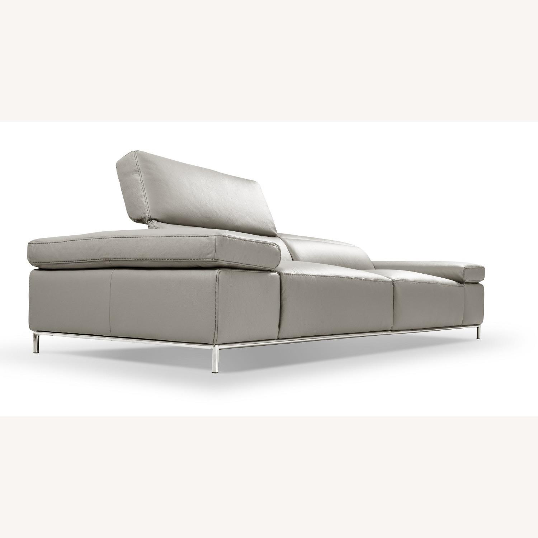 Sofa In Light Grey Leather W/ Adjustable Armrest - image-3