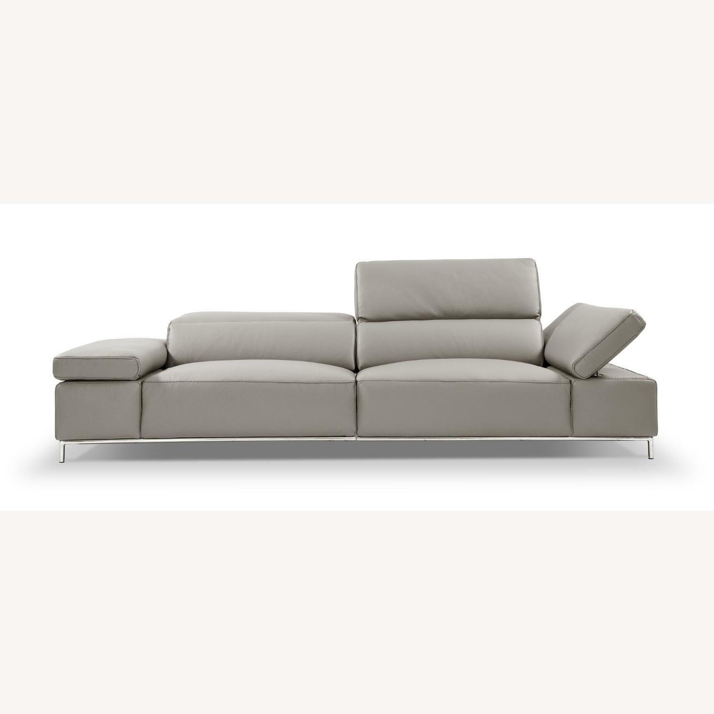 Sofa In Light Grey Leather W/ Adjustable Armrest - image-1