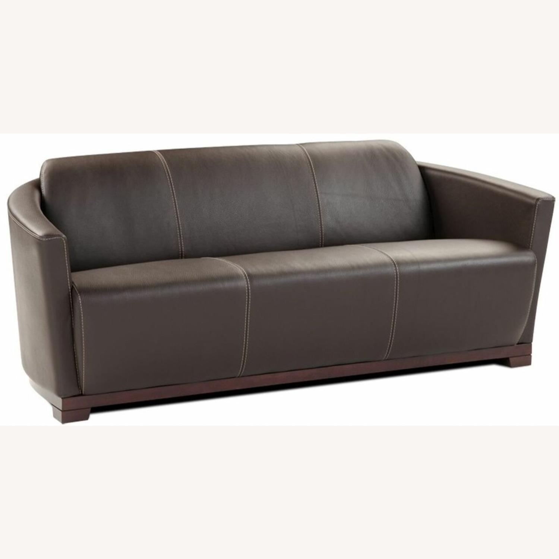 Sofa In Chocolate Brown Italian Leather Finish - image-0