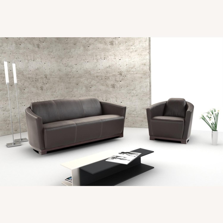 Sofa In Chocolate Brown Italian Leather Finish - image-3