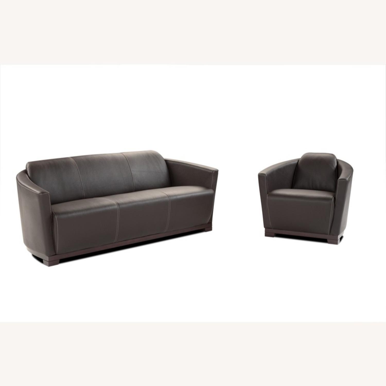 Sofa In Chocolate Brown Italian Leather Finish - image-2