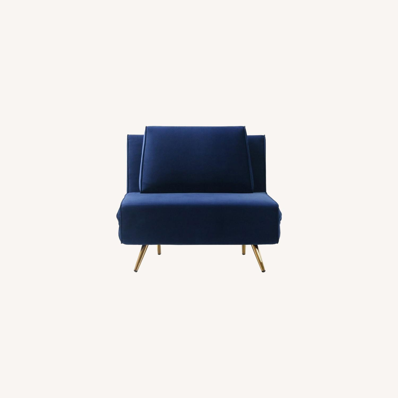 Single Sofa Bed In Royal Blue Hued Microfiber - image-6