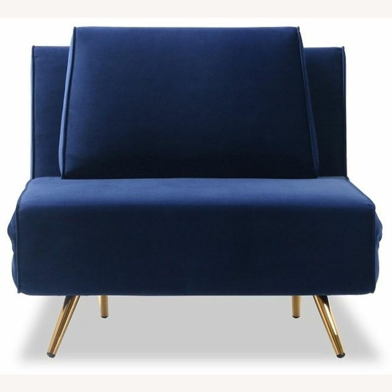 Single Sofa Bed In Royal Blue Hued Microfiber - image-0