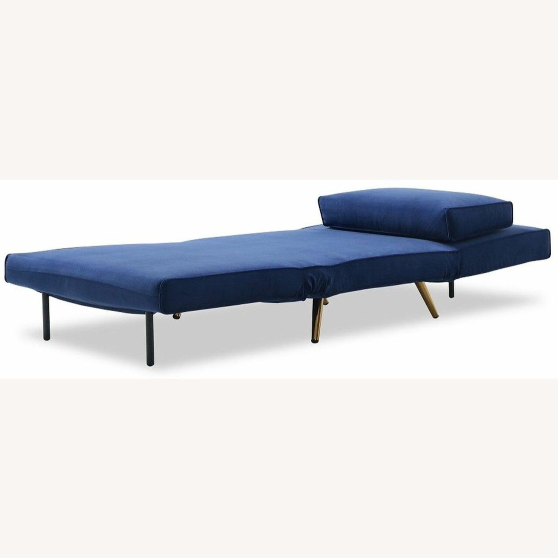 Single Sofa Bed In Royal Blue Hued Microfiber - image-4