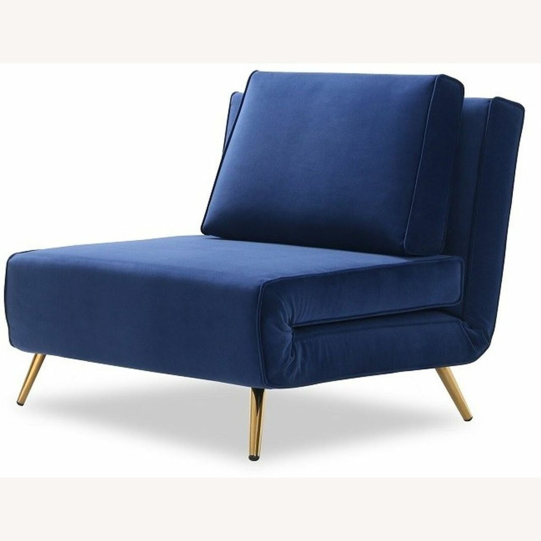 Single Sofa Bed In Royal Blue Hued Microfiber - image-2