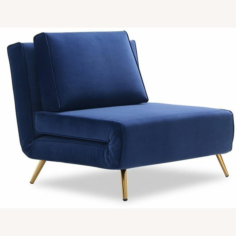 Single Sofa Bed In Royal Blue Hued Microfiber - image-1
