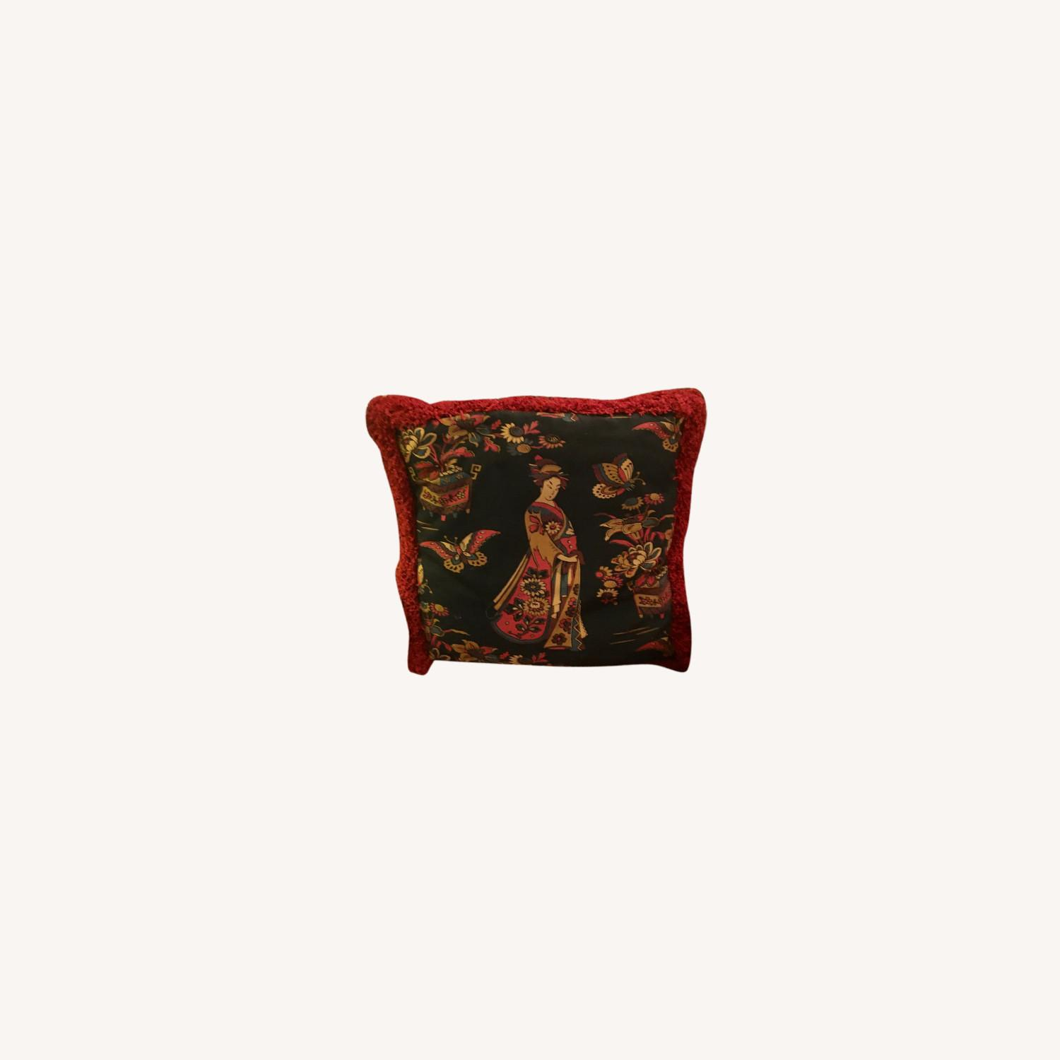 Multi-colored Decorative Pillow with Geisha - image-0