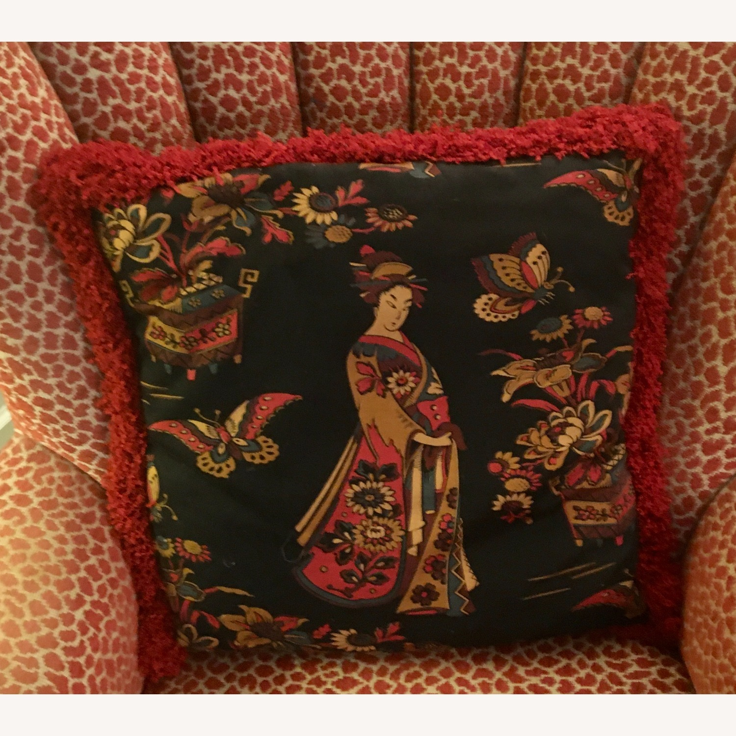 Multi-colored Decorative Pillow with Geisha - image-1