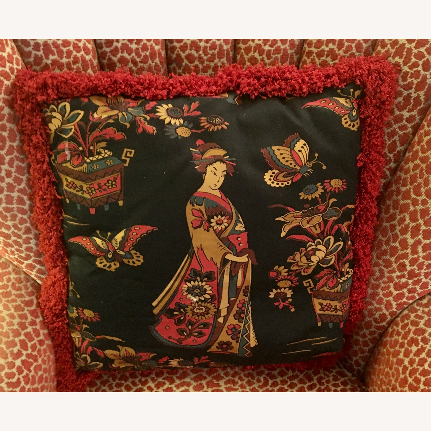 Multi-colored Decorative Pillow with Geisha - image-3