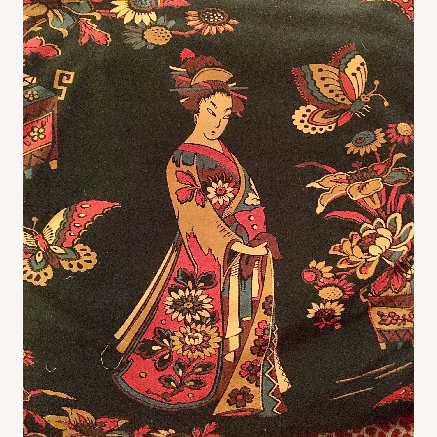 Multi-colored Decorative Pillow with Geisha - image-4