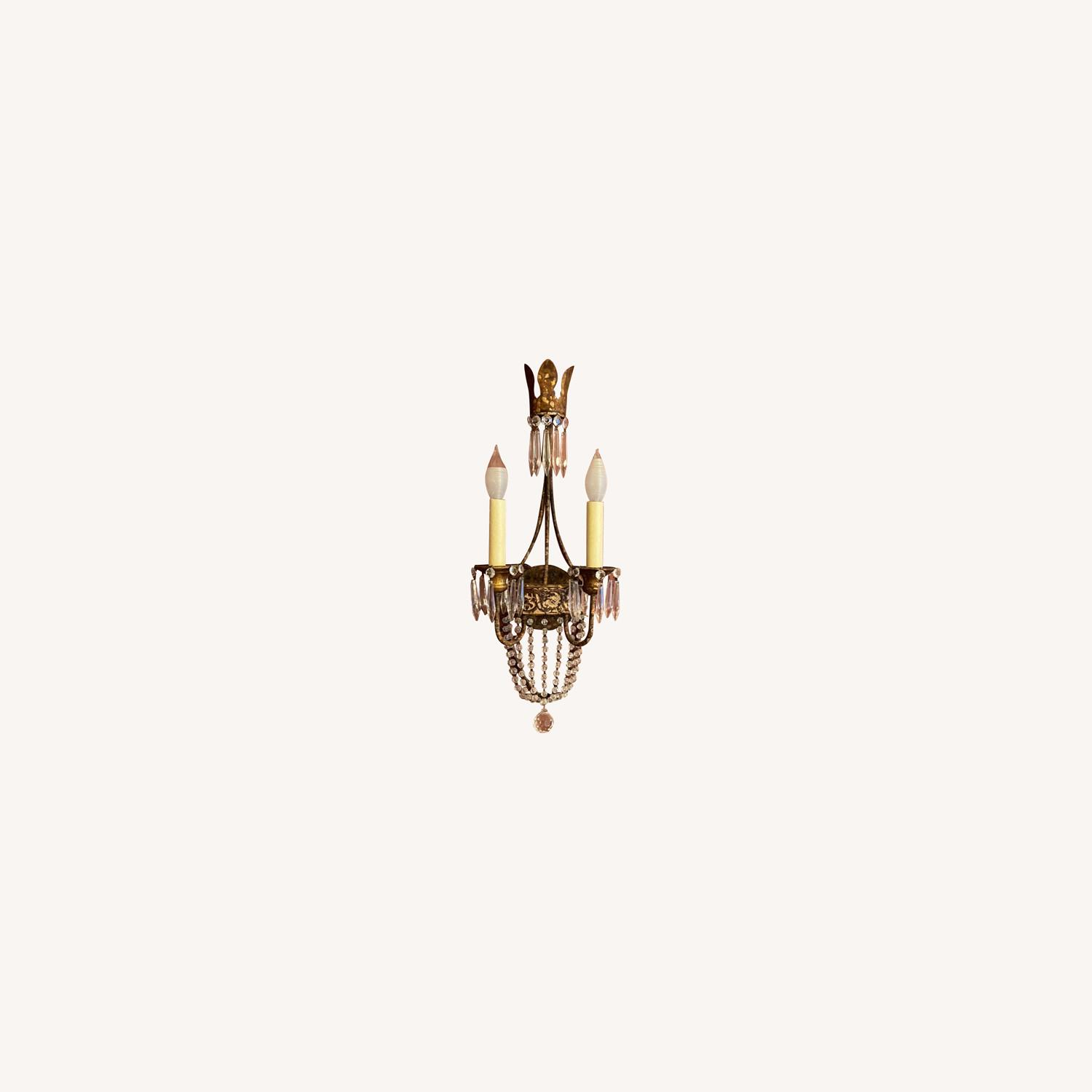 Two Neirmann Weeks Iron and Crystal Sconces - image-0
