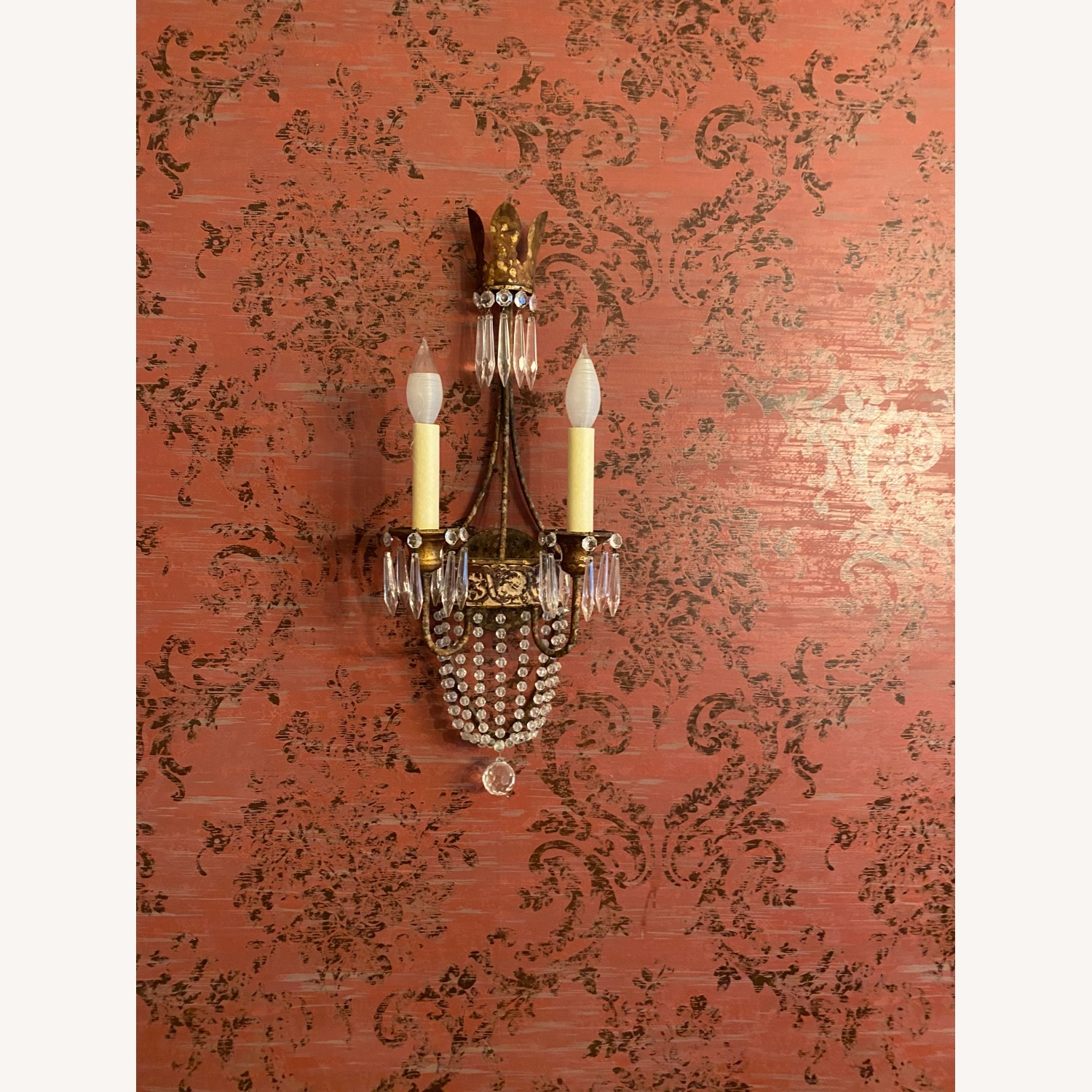 Two Neirmann Weeks Iron and Crystal Sconces - image-1