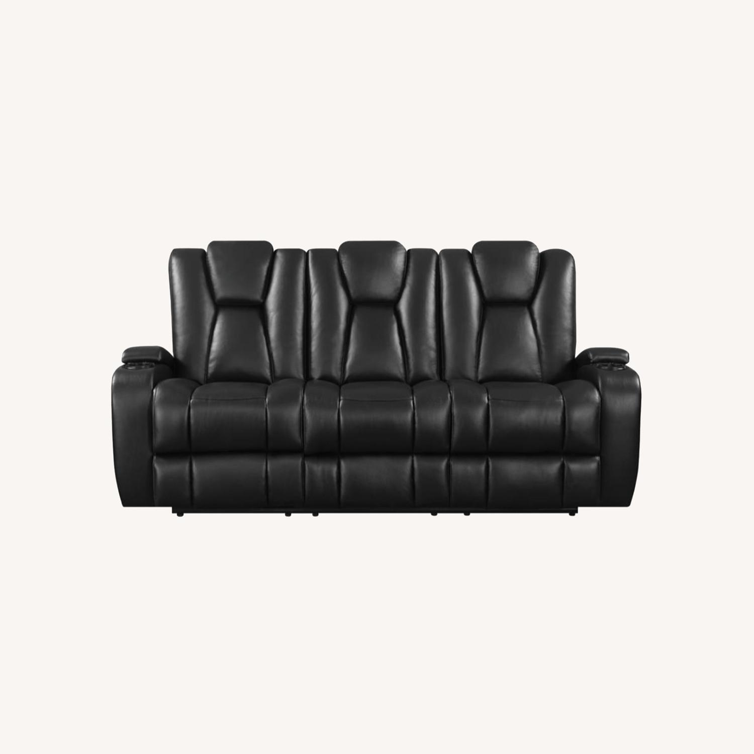 Power2 Sofa In Black Breathable Leather  - image-10